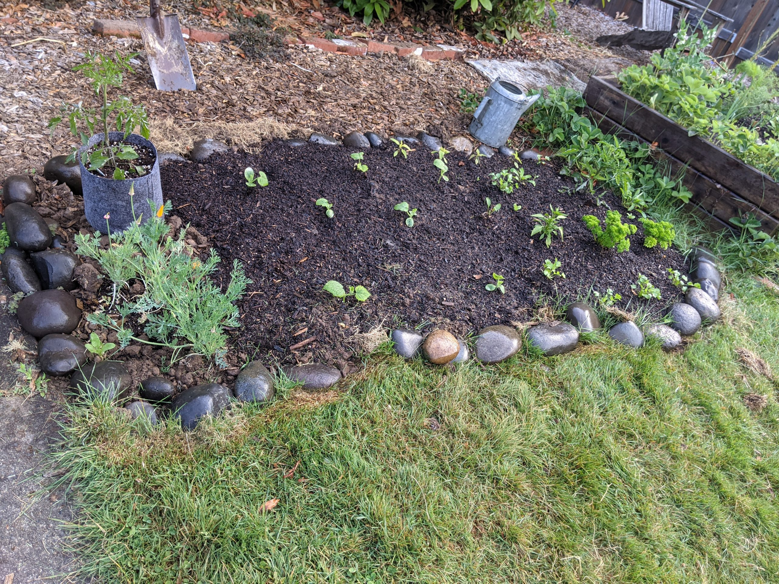 garden bed lined with river stone